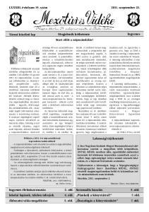 LXXXIII. évfolyam 19. szám szeptember 23
