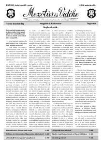 LXXXVI. évfolyam 05. szám március 14