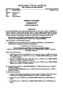 M Ě S T S K Ý Ú Ř A D S U Š I C E odbor výstavby a územního plánování