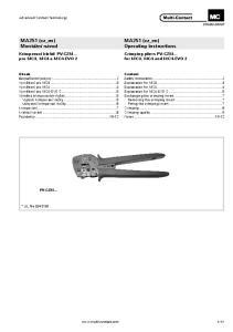 MA251 (cz_en) Operating instructions. MA251 (cz_en) Montážní návod. Krimpovací kleště PV-CZM... pro MC3, MC4 a MC4-EVO 2