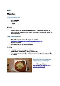 Maandag. Week 2. Ontbijt: Groene smoothie. - 50g bladspinazie - 50g ijsbergsla - 1 banaan - 1 peer. Bereiding