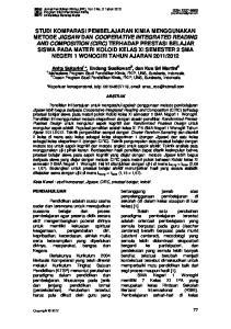 Mahasiswa Program Studi Pendidikan Kimia, FKIP, UNS, Surakarta, Indonesia 2. Dosen Program Studi Pendidikan Kimia, FKIP, UNS, Surakarta, Indonesia