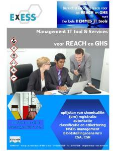 Management IT tool & Services. voor REACH en GHS. Bereidt U vandaag reeds voor op REACH en GHS met flexibele HEMMIS IT tools