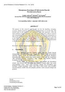 Manajemen Kearsipan di Sekretariat Daerah Provinsi Jawa Barat ABSTRACT