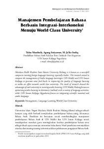 Manajemen Pembelajaran Bahasa Berbasis Integrasi-Interkoneksi Menuju World Class University