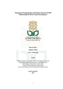 Manajemen Pengembangan Kurikulum Integrasi di SMP Muhammadiyah Darul Arqom Karanganyar