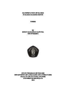 MANIFESTATION OF RACISM IN BLOOD DIAMOND MOVIE THESIS BY RINOV RAMADHAN SAPUTRA NIM