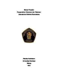 Manual Prosedur Pengendalian Dokumen dan Rekaman Laboratorium Biokimia Biomolekuler