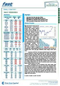 Market Preview. ditopang rebound saham sektor jasa konstruksi menyusul harganya yang sudah koreksi signifikan sebelumnya