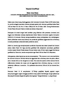Masalah Gratifikasi. Roby Arya Brata ANGGOTA PENDIRI KELOMPOK KAJIAN KORUPSI DI NEGARA-NEGARA ASIA, ASIAN ASSOCIATION FOR PUBLIC ADMINISTRATION