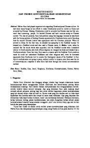 MATTEO RICCI DAN PROSES KONTEKSTUALISASI KEKRISTENAN DI CINA Jozef M.N. Hehanussa