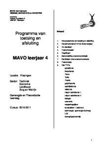 MAVO leerjaar 4. Programma van toetsing en afsluiting. Locatie: Vlissingen. Sector: Techniek Economie Landbouw Zorg en Welzijn