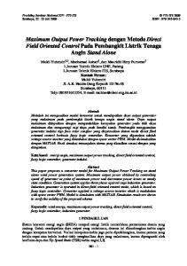 Maximum Output Power Tracking dengan Metode Direct Field Oriented Control Pada Pembangkit Listrik Tenaga Angin Stand Alone