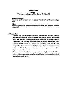 Mekatronika Modul 1 Transistor sebagai saklar (Saklar Elektronik)