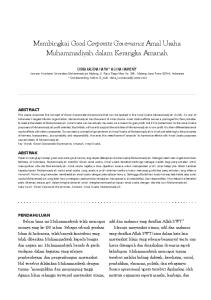 Membingkai Good Corporate Governance Amal Usaha Muhammadiyah dalam Kerangka Amanah