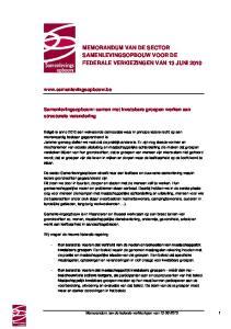 MEMORANDUM VAN DE SECTOR SAMENLEVINGSOPBOUW VOOR DE FEDERALE VERKIEZINGEN VAN 13 JUNI 2010