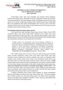 MEMPERCAKAPKAN PROBLEM PEREMPUAN DALAM PERUBAHAN AGRARIA Oleh : Estu Putri