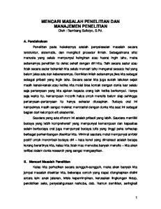 MENCARI MASALAH PENELITIAN DAN MANAJEMEN PENELITIAN Oleh : Bambang Sulistyo, S.Pd