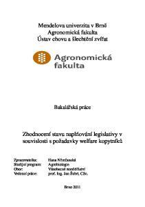 Mendelova univerzita v Brně Agronomická fakulta Ústav chovu a šlechtění zvířat