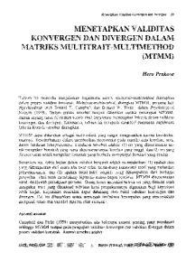 MENET APKAN V ALIDITAS KONVERGEN DAN DIVERGEN DALAM MATRIKS MULTITRAIT -MUL TIMETHOD (MTMM)