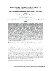 MENGUKUR INDEKS KERUKUNAN ANTAR UMAT BERAGAMA DI KABUPATEN KONAWE SELATAN. Measuring Index of Harmonious Inter Religion Relation in South Konawe
