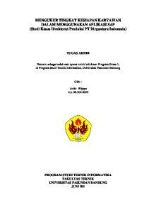 MENGUKUR TINGKAT KESIAPAN KARYAWAN DALAM MENGGUNAKAN APLIKASI SAP (Studi Kasus Direktorat Produksi PT Dirgantara Indonesia)