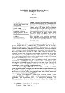 Meningkatkan Hasil Belajar Matematika Matriks Melalui Pembelajaran Model STAD. Rochani. SMKN 3 Blitar