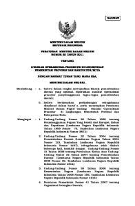 MENTERI DALAM NEGERI REPUBLIK INDONESIA PERATURAN MENTERI DALAM NEGERI NOMOR 52 TAHUN 2011 TENTANG