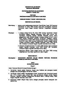 MENTERI DALAM NEGERI REPUBLIK INDONESIA PERTURAN MENTERI DALAM NEGERI NOMOR 4 TAHUN 2007 TENTANG PEDOMAN PENGELOLAAN KEKAYAAN DESA