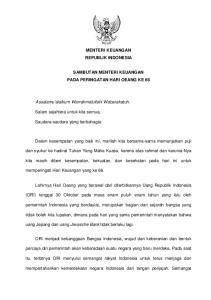 MENTERI KEUANGAN REPUBLIK INDONESIA SAMBUTAN MENTERI KEUANGAN PADA PERINGATAN HARI OEANG KE 66
