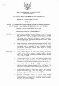 MENTERI KOMUWlKASI DAN IWFORMATIKA REPlIBLIK INDONESIA. BERATURAN MENTEHl KOMUNlKASl DAN INFOWMATIKA