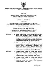 MENTERI NEGARA PEMBERDAYAAN PEREMPUAN DAN PERLINDUNGAN ANAK REPUBLIK INDONESIA PERATURAN