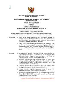 MENTERI NEGARA RISET DAN TEKNOLOGI REPUBLIK INDONESIA