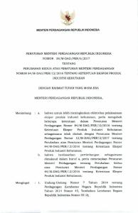 MENTERI PERDAGANGAN REPUBLIK INDONESIA