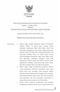 MENTERIKEUANGAN REPUBLIK INDONESIA SALIN AN PERATURAN MENTER! KEUANGAN REPUBLIK INDONESIA TENTANG PEDOMAN PENGGUNAAN SISTEM INFORMASI KREDIT PROGRAM