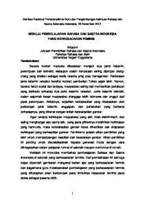 MENUJU PEMBELAJARAN BAHASA DAN SASTRA INDONESIA YANG BERKESADARAN FEMINIS