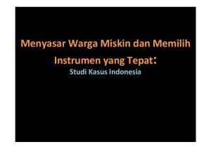 Menyasar Warga Miskin dan Memilih Instrumen yang Tepat: Studi Kasus Indonesia