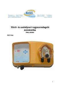 Mérő- és szabályozó vegyszeradagoló automatika Redox mérésére