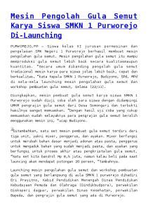 Mesin Pengolah Gula Semut Karya Siswa SMKN 1 Purworejo Di-Launching