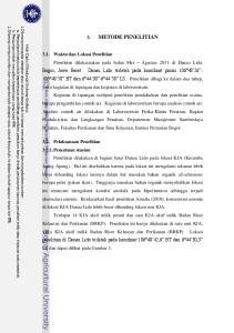 METODE PENELITIAN 3.1. Waktu dan Lokasi Penelitian 3.2. Pelaksanaan Penelitian Penentuan stasiun