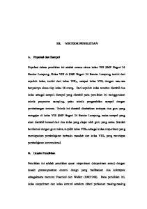 METODE PENELITIAN. Bandar Lampung. Kelas VIII di SMP Negeri 24 Bandar Lampung terdiri dari