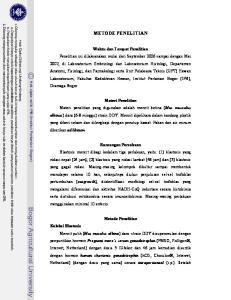 METODE PENELITIAN Waktu dan Tempat Penelitian Materi Penelitian Rancangan Percobaan Metode Penelitian Koleksi Blastosis