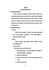 metode survey, dengan pendekatan cross sectional yaitu jenis penelitian yang Yogyakarta sejumlah 130 pasien