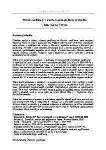Metodické listy pro kombinované studium předmětu Účetnictví pojišťoven