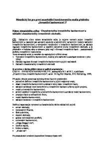 Metodický list pro první soustředění kombinovaného studia předmětu Investiční bankovnictví 1