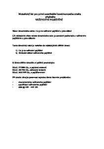 Metodický list pro první soustředění kombinovaného studia. předmětu NEŽIVOTNÍ POJIŠTĚNÍ