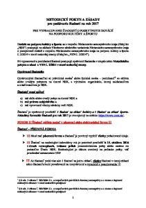 METODICKÝ POKYN A ZÁSADY pre podávanie žiadostí na rok 2017
