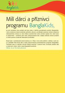 Milí dárci a příznivci programu BanglaKids,