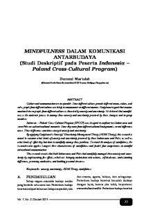 MINDFULNESS DALAM KOMUNIKASI ANTARBUDAYA (Studi Deskriptif pada Peserta Indonesia Poland Cross-Cultural Program)
