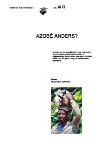 Ministerie van Verkeer en Waterstaat AZOBÉ ANDERS?